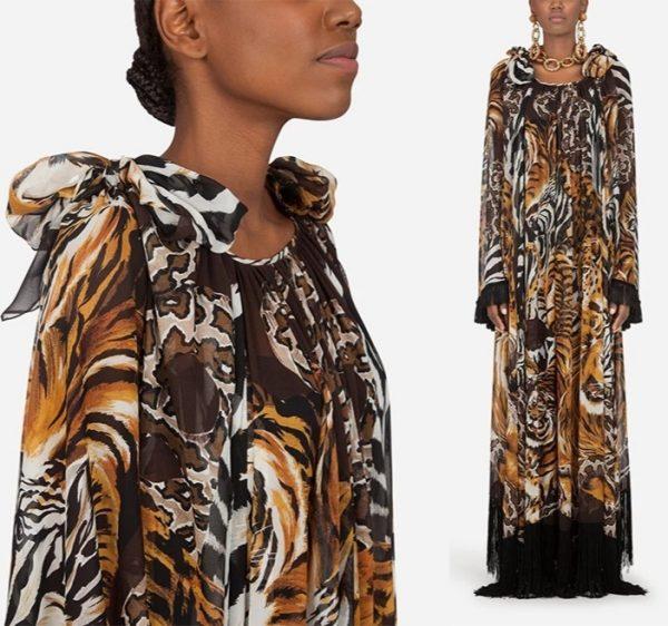 Dolce Gabbana Silk Fabric with tiger pattern