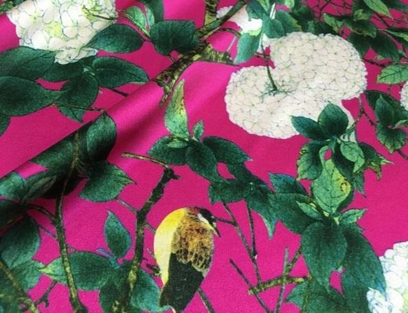 Italian Designer Silk Stretch satin Hydrangea design