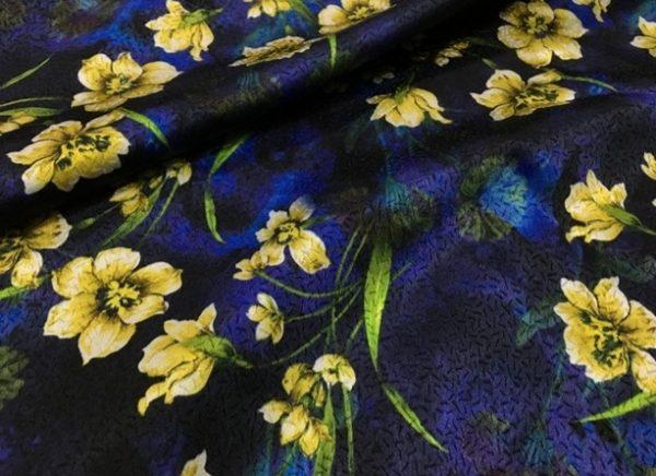 Italian Fabric silk jacquard inkjet flowers