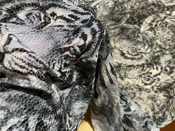 Italian Designer Fabric burnt out silk velvet, devore fabric with tigers design/Alta Moda 1 ⋆ Rozitta Rapetti