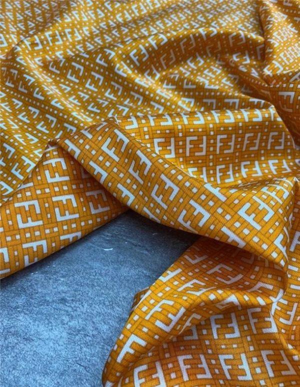 Fendi Fabric silk twill stretch logo