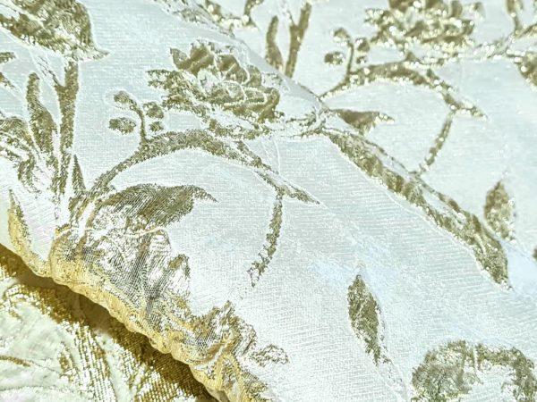 Italian Couture Gold thread organza embossed design jacquard