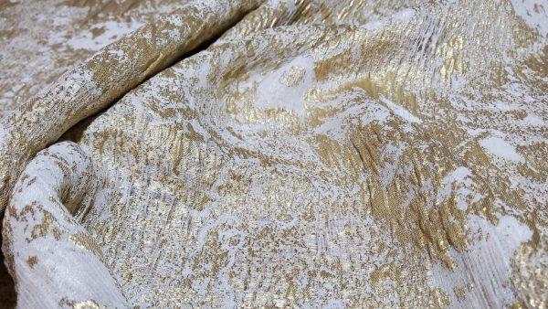 Italian Designer Fabric silk gold thread embossed pattern