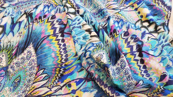 Viscose stretch colourful design Fabric