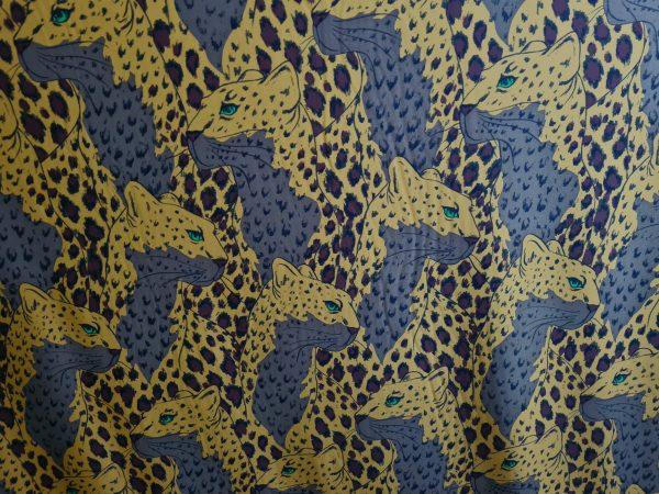 Gucci silk viscose stretch fabric with leopards