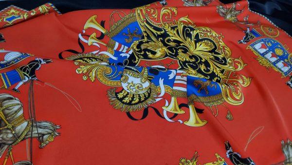 Balenciaga Silk twill fabric sold by panel with horses and carriage design.Alta sartoria Italian fabrics 1 ⋆ Rozitta Rapetti