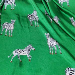 Designer Silk twill zebra design