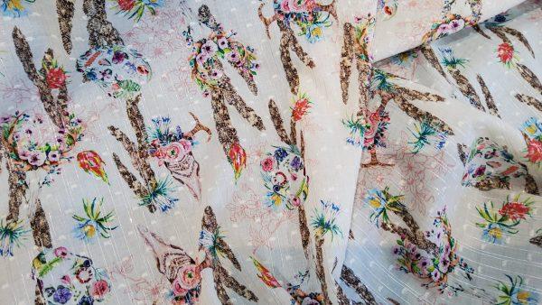 Alexander McQueen cotton Skulls with flowers