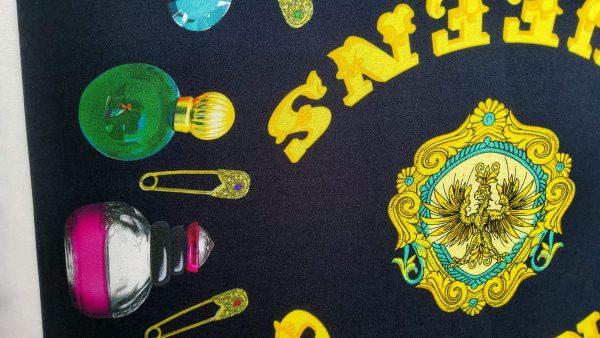 Italian fabric Alta moda silk twill perfumes pattern