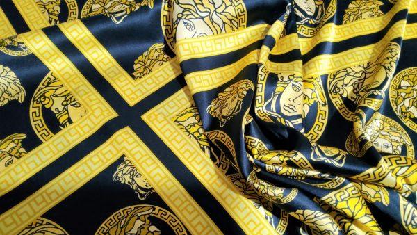 Versace silk stretch fabric,medusa design
