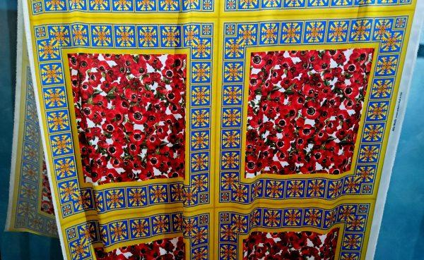 Poppies flowers Design Silk elastane Fabric