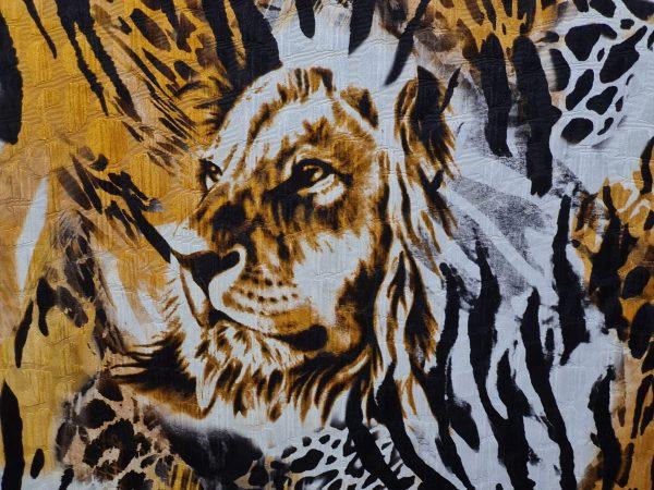 Versace Atelier Tiger and zebras print fabric Silk devore